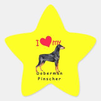 Pinscher del Doberman Calcomanías Forma De Estrellas Personalizadas