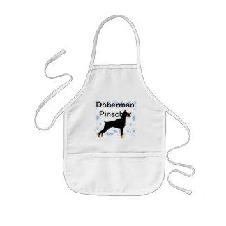 Pinscher del Doberman - perfil del cuerpo negro Delantal Infantil