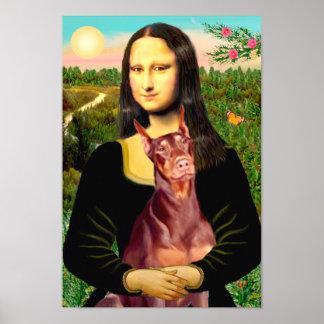Pinscher del Doberman rojo - Mona Lisa Poster