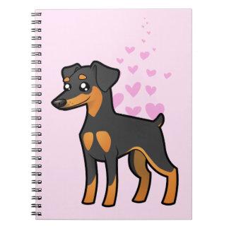 Pinscher miniatura/amor de Manchester Terrier Libros De Apuntes Con Espiral
