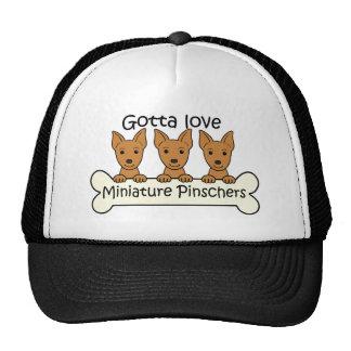 Pinscher miniatura tres gorras de camionero