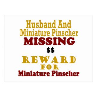 Pinscher miniatura y recompensa que falta del mari tarjetas postales