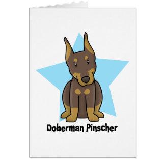 Pinscher rojo del Doberman de la estrella de Kawai Tarjeta De Felicitación