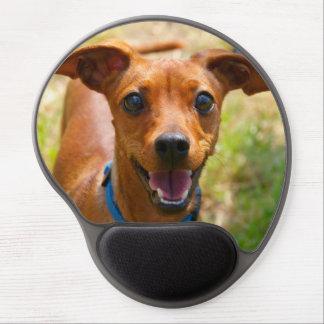 Pinscher Smiling Blue Collar Dog Gel Mouse Pad