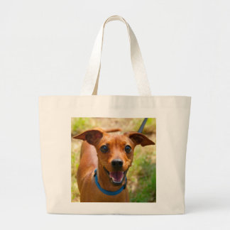 Pinscher Smiling Blue Collar Dog Large Tote Bag