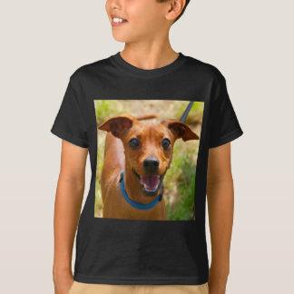 Pinscher Smiling Blue Collar Dog T-Shirt