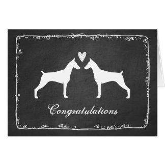 Pinschers del Doberman que casan enhorabuena Tarjeta De Felicitación