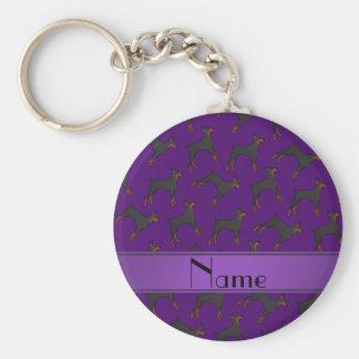 Pinschers púrpuras conocidos personalizados del llavero redondo tipo pin