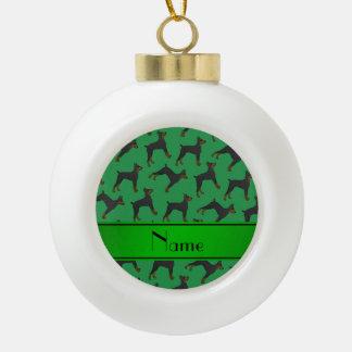 Pinschers verdes conocidos personalizados del adorno de cerámica en forma de bola