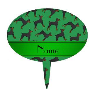 Pinschers verdes conocidos personalizados del figuras de tarta