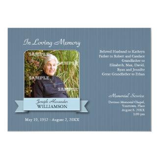 "Pinstripe Banner Memorial Notice 4.5"" X 6.25"" Invitation Card"