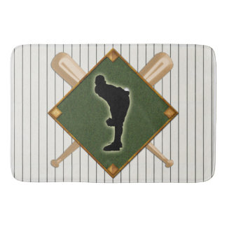 Pinstripe Baseball Logo Pitcher Bathroom Mat