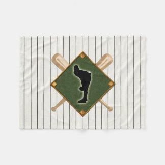 Pinstripe Baseball Logo Pitcher Fleece Blanket