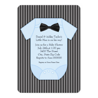Pinstripe Black and Blue Baby Shower Card