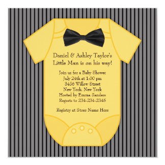 Pinstripe Black and Yellow Baby Shower Card