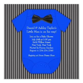 Pinstripe Black Blue Baby Boy Shower Card