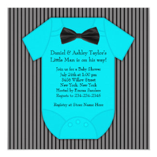 Pinstripe Black Blue Baby Boy Shower 5.25x5.25 Square Paper Invitation Card