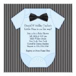 Pinstripe Black Blue Baby Boy Shower 5.25x5.25 Square Paper Invitation Card