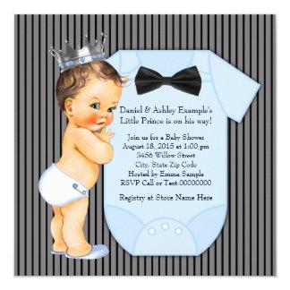 Pinstripe Black Blue Prince Baby Shower Card