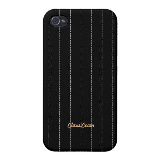 Pinstripe Black Pattern Savvy iPhone 4/4S Cover