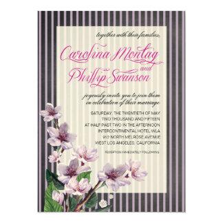 Pinstripe Chalkboard Lilac Branches Felt Wedding Card