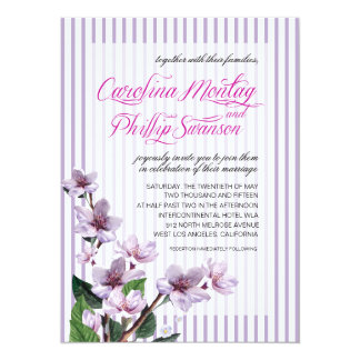 Pinstripe Lilac Branches Watercolor Floral Wedding Card