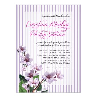Pinstripe Lilac Branches Watercolor Floral Wedding Custom Invitation