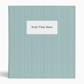 Pinstripe office binder | Teal & white stripes