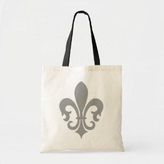 Pinstripe Pattern with Fleur de Lis Budget Tote Bag