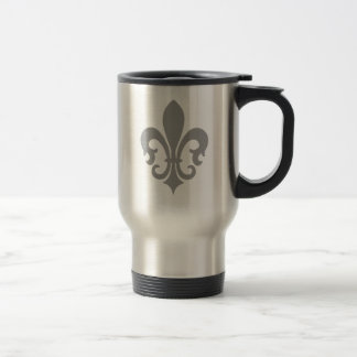 Pinstripe Pattern with Fleur de Lis Travel Mug