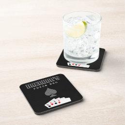Pinstripe Poker Night Set of 6 Cork Coasters