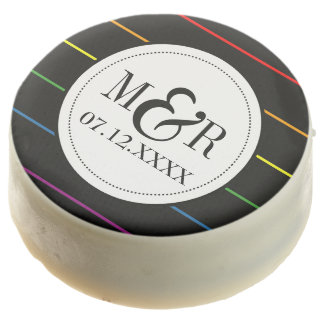 Pinstripe Pride Colors LGBT Wedding Chocolate Covered Oreo