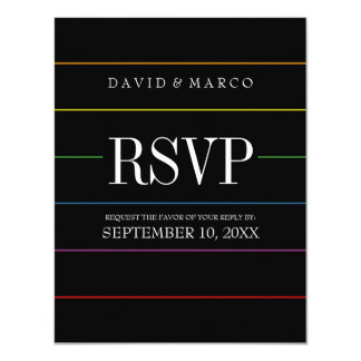 Pinstripe Pride Colors RSVP Gay Wedding Invitation