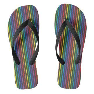 Pinstripe Rainbow Flip Flops