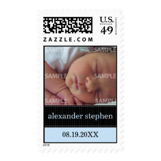 Pinstripe Ribbon Baby Announcement Postage