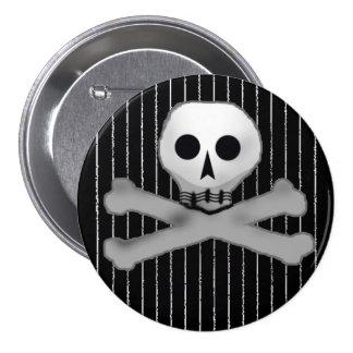 pinstripe skully 3 inch round button