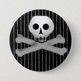 pinstripe skully pinback button