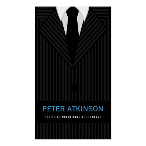 Pinstripe Suit Accountant Business Card Template Business Card Template