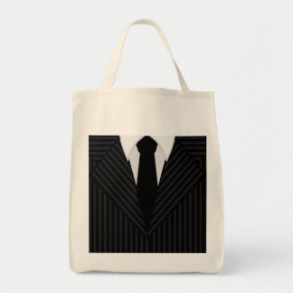 Pinstripe Suit and Tie Grocery Tote Bag