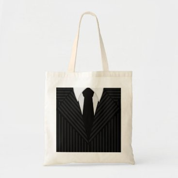 Professional Business Pinstripe Suit and Tie Masculine Tote Bags