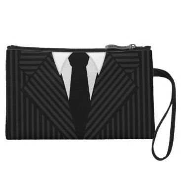 Professional Business Pinstripe Suit and Tie Mens Small Wristlet Bags
