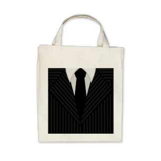 Pinstripe Suit and Tie Organic Grocery Tote Bag Bag