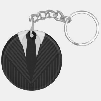 Pinstripe Suit And Tie Round Double Sided Keychain