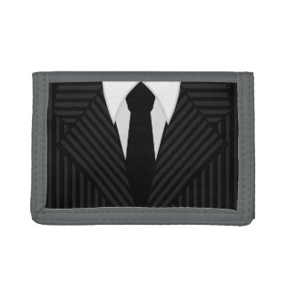 Pinstripe Suit and Tie Trifold Nylon Mens Wallet