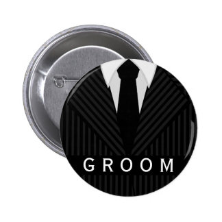 Pinstripe Suit Bachelor Party Groom Round Badge Pinback Button