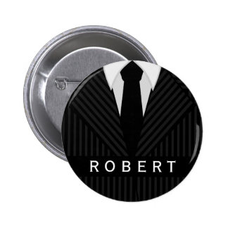 Pinstripe Suit Mens Fashion Round Name Tag Badge Button