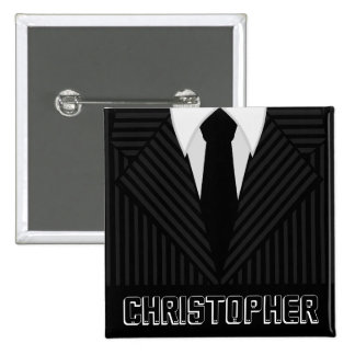 Pinstripe Suit Mens Fashion Square Name Tag Badge Button