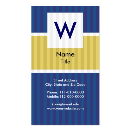 Modern Blue Pinstripe Monogram Professional Accountant Vertical Business Cards