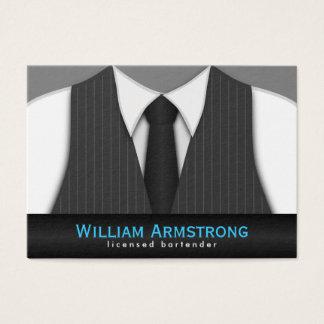 Pinstripe Suit Tie Large Bartender Business Cards