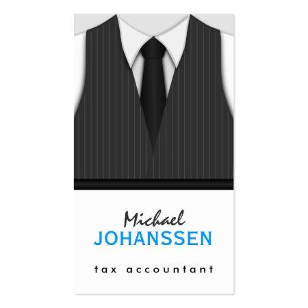 Pinstripe Suit Vest Tie Professional Business Card Tax Accountant Profilecard